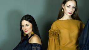 Façonnez la séance photos, groupe de modèles de jeunes filles avec le maquillage chic dans des vêtements luxueux clips vidéos