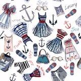 Façonnez le modèle avec des vêtements et des ancres dans le rétro style nautique Images libres de droits