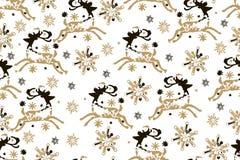Façonnez le modèle sans couture de Noël avec les flocons de neige et le De d'or illustration libre de droits
