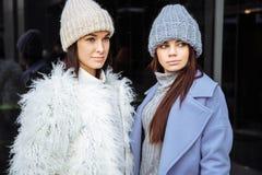 Façonnez le portrait de deux amies sexy, marchant sur la ville d'automne Image libre de droits