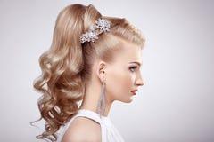 Façonnez le portrait de la jeune belle femme avec la coiffure élégante images libres de droits