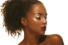 Façonnez le portrait de studio d'un beau modèle extraordinaire d'afro-américain photo stock
