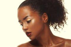 Façonnez le portrait de studio d'un beau modèle extraordinaire d'afro-américain images libres de droits