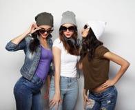 Façonnez le portrait du meilleur ami sexy élégant de trois filles de hippie Images libres de droits