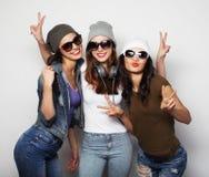 Façonnez le portrait du meilleur ami sexy élégant de trois filles de hippie Photos stock