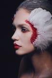 Façonnez le portrait en gros plan d'une fille modèle dans l'image d'un cygne avec un maquillage étonnant de beauté photographie stock libre de droits