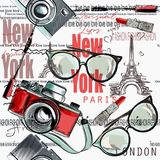 Façonnez le rouge à lèvres de modèle de vecteur, appareil-photo, verres, mots New York Photographie stock libre de droits