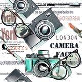 Façonnez le rouge à lèvres de modèle de vecteur, l'appareil-photo, les verres et les mots nouveau Y Images stock