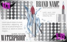 Façonnez le wat cosmétique de maquette d'illustration du vecteur 3d de tube de rouge à lèvres Image libre de droits