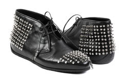 Façonnez les chaussures noires, d'isolement sur le fond blanc Photographie stock libre de droits