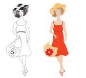 Façonnez les filles dans les sundress avec le chapeau et l'ha dernier cri Image libre de droits