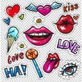 Façonnez les insignes de correction avec des lèvres, des coeurs, des bulles de la parole, des étoiles et des éléments d'amour Photographie stock