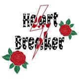 Façonnez les roses avec le type, briseur de coeur de slogan avec des perles Copie moderne de T-shirt pour des habillements illustration de vecteur