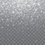 Faísca de prata do brilho em um fundo transparente Fundo vibrante com luzes da cintilação Ilustração do vetor ilustração stock