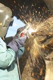 Faísca dos soldadores Fotos de Stock Royalty Free