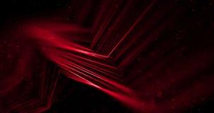 A faísca vermelha do brilho da disposição abstrata do córrego alinha com partículas na ciência e na pesquisa pretas do fundo ilustração stock