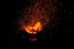 Faíscas da fogueira Imagens de Stock Royalty Free