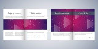 Fałd broszurki biznesowy szablon z abstrakcjonistycznym tłem Geometryczne grafika i łączyć linie z kropkami medyczny Obraz Stock