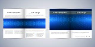 Fałd broszurki biznesowy szablon z abstrakcjonistycznym tłem Geometryczne grafika i łączyć linie z kropkami Medyczny, technologi Zdjęcie Royalty Free