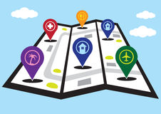 fałd Uliczna mapa z markiera wektoru ilustracją Obraz Royalty Free