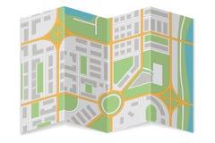 Fałdowa miasto mapa Abstrakcjonistyczna kartografia ilustracja wektor