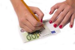 Fałszerz fałszuje euro obraz royalty free