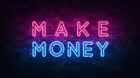 Fa?a o dinheiro Conceptual financeiro Image Sinal de n?on, grande projeto para algumas finalidades 3d rendem Projeto moderno Proj ilustração royalty free