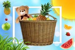Fa un picnic un giorno di estate soleggiato, il canestro di picnic è riempito di frutta Le margherite ed il sole nella società di royalty illustrazione gratis