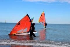 Fa windsurf, la classe del windsurfer Fotografie Stock Libere da Diritti
