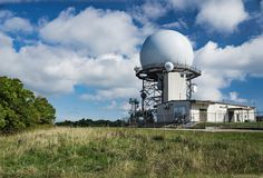 FAA Air Traffic Control Radar. Bedford County, VA – September 26th: View of the FAA Traffic Control Radar at the summit of Apple Orchard Mountain located stock image