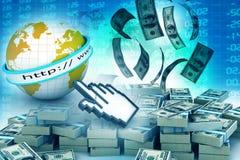 Faça a dinheiro o conceito em linha Foto de Stock Royalty Free