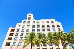 Façade of art deco building of Miami Beach, Florida. Stock Photos