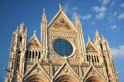 Façade of magnificent marble cathedral in Siena, Italy Royalty Free Stock Images