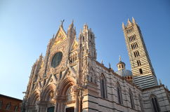 Façade of magnificent marble cathedral in Siena, Italy Stock Photography