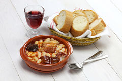 Fabada asturiana, spanish white bean stew Stock Images