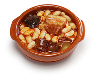 Fabada asturiana, spanish white bean stew Royalty Free Stock Image