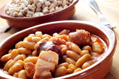 Fabada asturiana, typical spanish bean stew Royalty Free Stock Photography