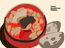 Fabada Comida española típica stock de ilustración