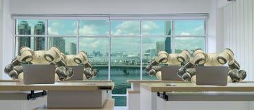 Fabbrica astuta di Iot nell'industria 4 0 concetti di tecnologia del robot, ingegnere, uomo facendo uso della compressa futuristi fotografia stock libera da diritti