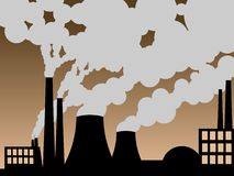 Fabbrica che erutta fuori inquinamento Fotografia Stock