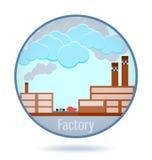 Fabbrica colorata nel telaio del cerchio illustrazione di stock