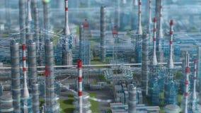 Fabbrica con progettazione di formula chimica, vista di orbita, defocus sparata, zona del petrolio di industria, tubo della piant video d archivio
