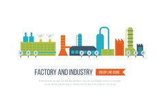 Fabbrica del fabbricato industriale ed icona delle centrali elettriche Immagine Stock Libera da Diritti