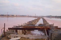 Fabbrica del sale nel tramonto Immagine Stock