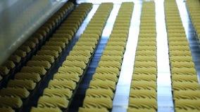Fabbrica della confetteria per la produzione dei biscotti archivi video