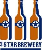 Fabbrica di birra della stella delle bottiglie di birra retro Immagine Stock
