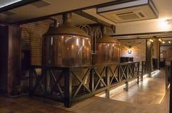 Fabbrica di birra di rame moderna nella barra Immagini Stock Libere da Diritti