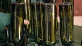 Fabbrica di imbottigliamento del vino stock footage