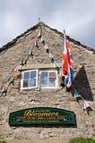 Fabbrica e bandiera del budino di Bakewell Immagini Stock