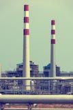Fabbrica elaborante del gas paesaggio fotografie stock libere da diritti